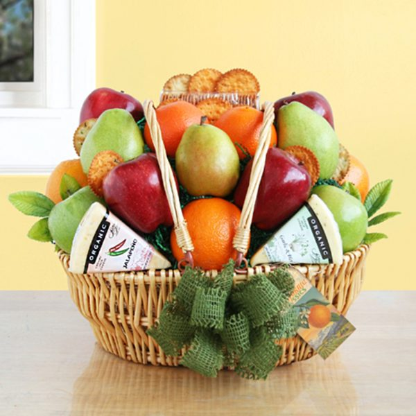 Farmers Market Fruit and Organic Cheese Basket